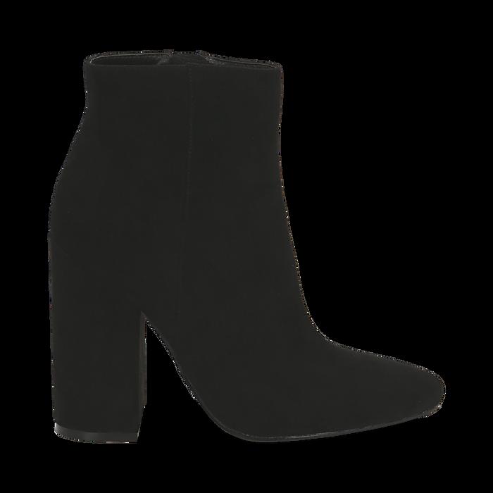 Ankle boots a punta neri in microfibra, tacco 11 cm , Stivaletti, 142186942MFNERO035
