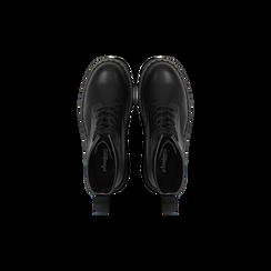 Anfibi neri con lacci, tacco basso, Scarpe, 122801501EPNERO, 004 preview
