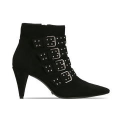 Tronchetti neri con fibbie metalliche, tacco 8 cm, Primadonna, 124988013MFNERO, 001 preview