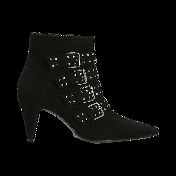Tronchetti neri con fibbie metalliche, tacco 8 cm, Primadonna, 124988013MFNERO