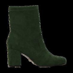 Tronchetti verdi scamosciati, tacco 7,5 cm, Scarpe, 122115991MFVERD, 001 preview