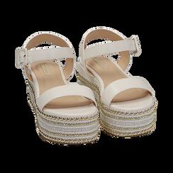 Sandali bianchi in eco-pelle, zeppa 7 cm , Primadonna, 154932211EPBIAN035, 002 preview