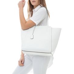 Maxi-bag bianca in eco-pelle con design a trapezio, Borse, 133763772EPBIANUNI, 002a
