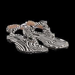 Sandali infradito flat zebra print in microfibra, con catenelle, Primadonna, 134909285MFZEBR036, 002 preview