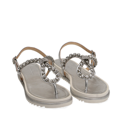 Sandali infradito argento laminato con pietre , Chaussures, 154950098LMARGE036, 002a