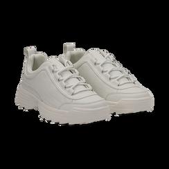 Dad shoes bianche in eco-pelle con suola sagomata, Scarpe, 130101201EPBIAN037, 002 preview