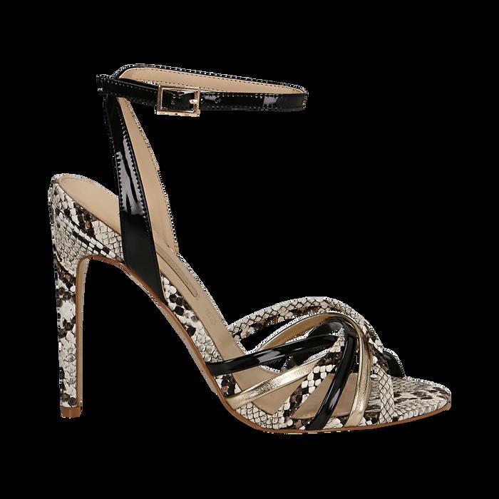 Sandali multilistino neri in eco-pelle effetto snake skin, tacco 11 cm, Scarpe, 132120686PTNERO035