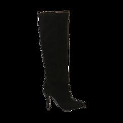 Stivali neri in microfibra, tacco 10,50 cm , Primadonna, 162146862MFNERO035, 001 preview