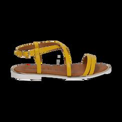 Sandali flat gialli in eco-pelle, Saldi Estivi, 136102003EPGIAL036, 001 preview