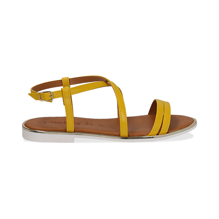 Sandali flat gialli in eco-pelle, Saldi Estivi, 136102003EPGIAL036