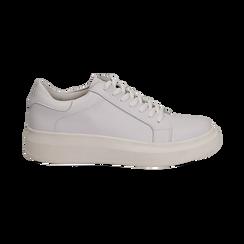 Sneakers bianche in eco-pelle con suola flat, Scarpe, 132019051EPBIAN036, 001 preview