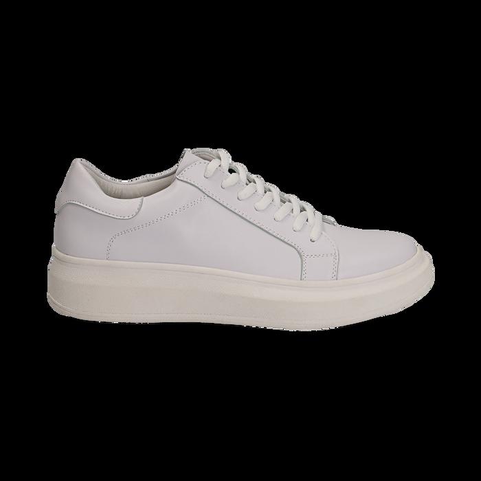 Sneakers bianche in eco-pelle con suola flat, Scarpe, 132019051EPBIAN036