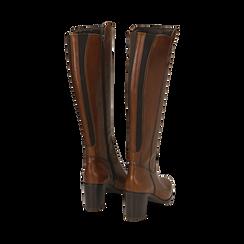 Stivali cuoio in pelle, tacco 7,50 cm, Primadonna, 167738002PECUOI036, 003 preview