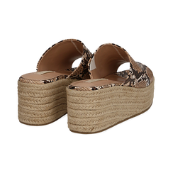 Zeppe platform beige in eco-pelle, effetto snake skin, zeppa in corda 7 cm, Primadonna, 132708151PTBEIG035, 004 preview