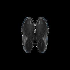 Anfibi neri in vera pelle, con gambale basso, tacco basso, Scarpe, 127717704PENERO, 004 preview