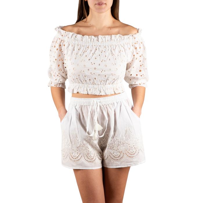 Shorts bianchi in tessuto , Primadonna, 150503108TSBIANUNI