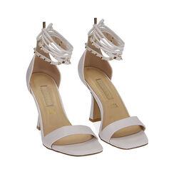 Sandali lace-up bianchi, tacco 10 cm , Primadonna, 172136530EPBIAN036, 002 preview