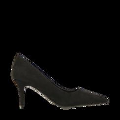 Décolleté nere in microfibra, tacco 7 cm , Scarpe, 142111552MFNERO035, 001a