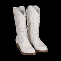 Santiags blanche en cuir, talon 4 cm, Primadonna, 157732902PEBIAN036, 002 preview