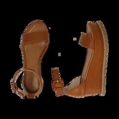 Sandali cuoio, zeppa 6,50 cm, Scarpe, 154926113EPCUOI, 003 preview