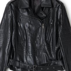 Biker jacket con mini boules nere, Primadonna, 136500021EPNEROL, 002a