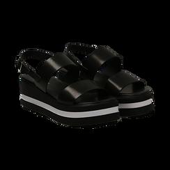 Sandali platform neri in eco-pelle, zeppa 5 cm , Primadonna, 132147512EPNERO036, 002 preview