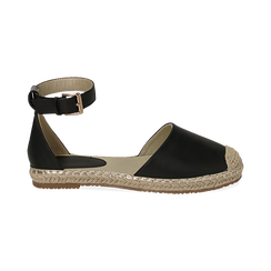 WOMEN SHOES ESPADRILLAS ECO-LEATHER NERO, Chaussures, 154905188EPNERO036, 001 preview