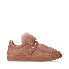 Sneakers rosa nude slip-on con dettagli faux-fur e borchie, Primadonna, 129300023MFNUDE036, 001a