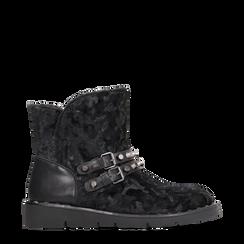 Scarponcini da neve neri con fibbie e borchie, Scarpe, 120810075VLNERO036, 001a