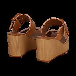 Mules platform cuoio in eco-pelle, zeppa 8 cm , Primadonna, 13C700252EPCUOI035, 004 preview