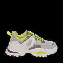 Dad shoes bianche in tessuto tecnico con dettagli fluo, zeppa 6 cm , Scarpe, 14D814101TSBIAN035, 001a
