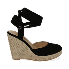 Espadrillas lace-up nere in microfibra, zeppa 10,50 cm , Chaussures, 152153041MFNERO035, 001a