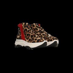 Sneakers leopard in lycra con zip, Scarpe, 12A783210LYLEOP036, 002
