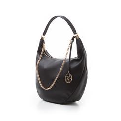 Hobo bag nera in eco-pelle, Borse, 133818123EPNEROUNI, 004 preview