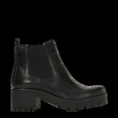 Chelsea Boots neri in vera pelle, tacco medio 5,5 cm, 127723509PENERO038, 001a