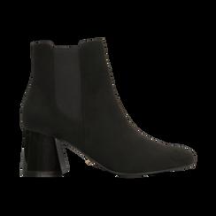 Chelsea Boots Neri Tacco con Largo Alto, Scarpe, 122707127MFNERO036, 001