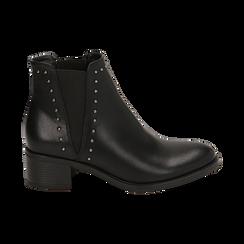 Chelsea boots neri con borchie, tacco 5 cm , Primadonna, 160621232EPNERO036, 001 preview