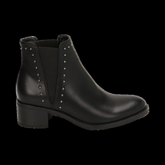 Chelsea boots neri con borchie, tacco 5 cm , Primadonna, 160621232EPNERO036