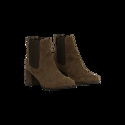 Chelsea Boots marroni in vero camoscio, tacco quadrato medio 5,5 cm, Primadonna, 127722102CMMARR, 002 preview