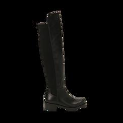 Overknee neri in eco-pelle, tacco 4 cm , Stivali, 143025001EPNERO035, 001a
