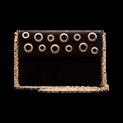 Pochette bustina nera in microfibra con oblò dorati, Borse, 123308604MFNEROUNI, 003 preview