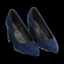 Décolleté blu in microfibra, tacco 7,50 cm , Primadonna, 162187081MFBLUE035, 002 preview