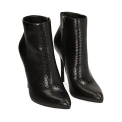 Ankle boots neri stampa vipera, tacco 11 cm , Primadonna, 162168616EVNERO036, 002a
