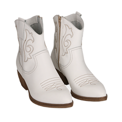 Santiags blanches en cuir, talon 4 cm, Chaussures, 157732901PEBIAN038, 002a