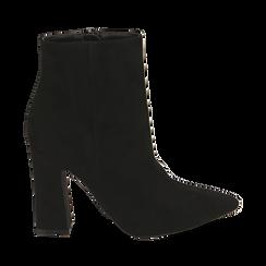 Ankle boots neri in microfibra, tacco 10 cm , 164822754MFNERO036, 001a