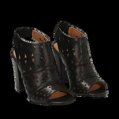Sandali traforati neri in eco-pelle, tacco 10 cm, Sandali con tacco, 136383055EPNERO035, 002a