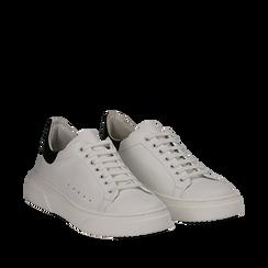 Sneakers bianco/nere in pelle, Scarpe, 13C300028PEBINE035, 002a
