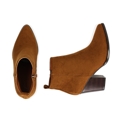 Ankle boots cuoio in microfibra, tacco 8,50 cm, Primadonna, 160585965MFCUOI035, 003 preview