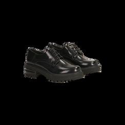 Francesine stringate nere con tacco multistrato basso, 120608956ABNERO035, 002