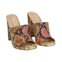 Mules rosa/beige in eco-pelle snake print, tacco 10,50 cm, Chaussures, 152709445PTRSBE036, 002 preview